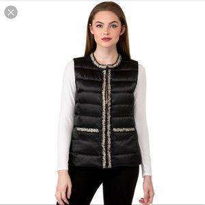 Karl Lagerfeld tweed trim puffer vest